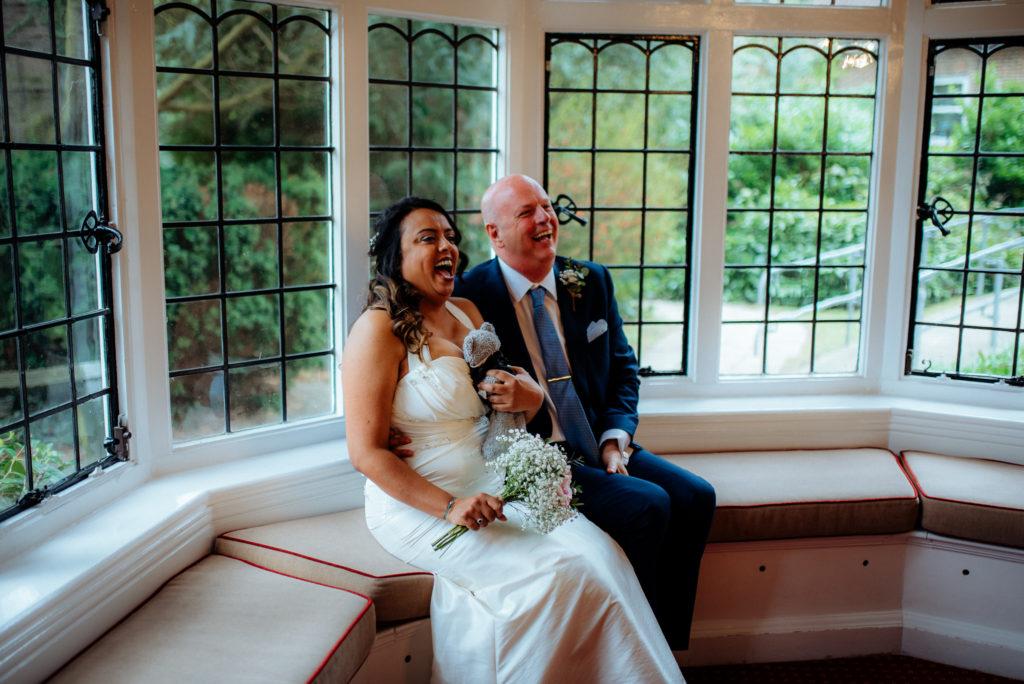 Fun relaxed wedding portraits