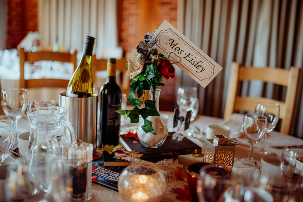 Kent wedding photographer The Ferry House Inn Harty Creative wedding Magical themed wedding DIY wedding crafts book themed Harry Potter Lord of the Rings wedding dress father of the bride bridesmaids DIY table decorations