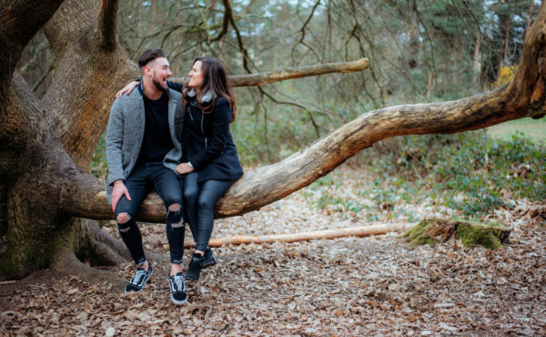 Fun engagement couples photoshoot in the Chantries Woods Guildford