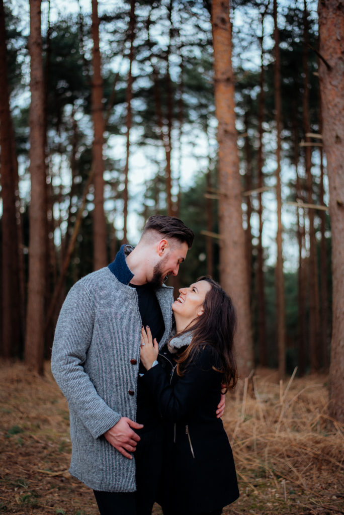 Happy newly engaged couple in Guildford
