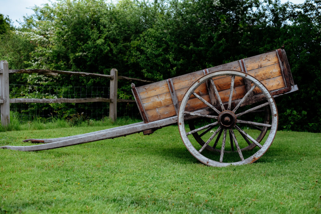 old horse drawn cart wedding