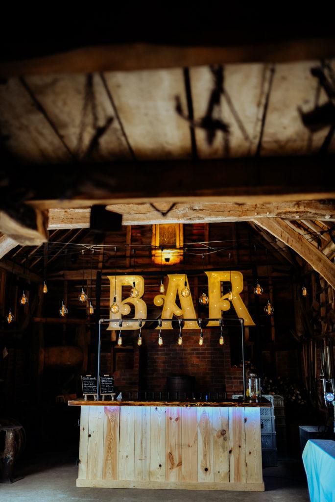 rustic wedding venue bar