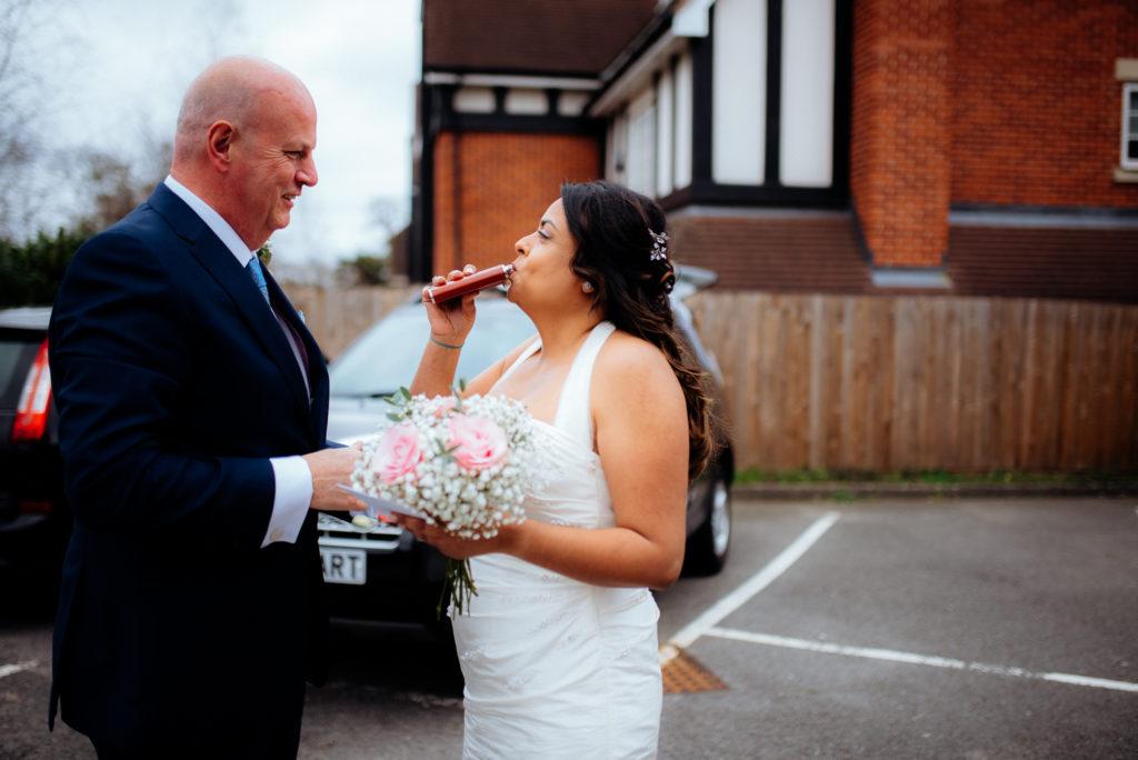 dutch courage whisky shot on wedding day
