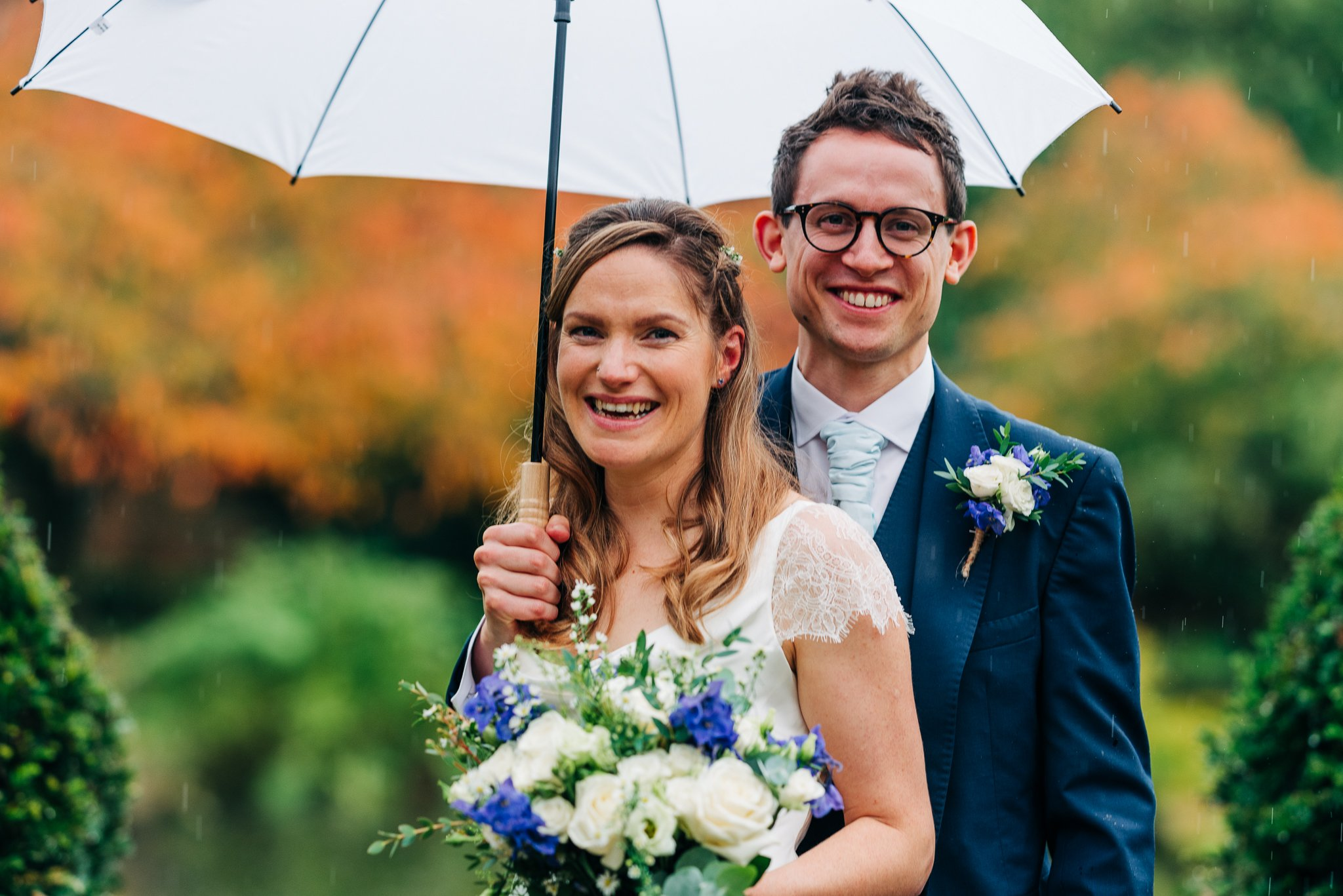 Rainy autumn eco friendly wedding
