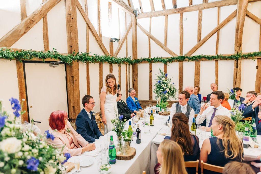 Bride makes a speech