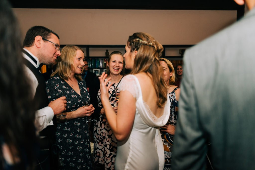 Bride chats to guests