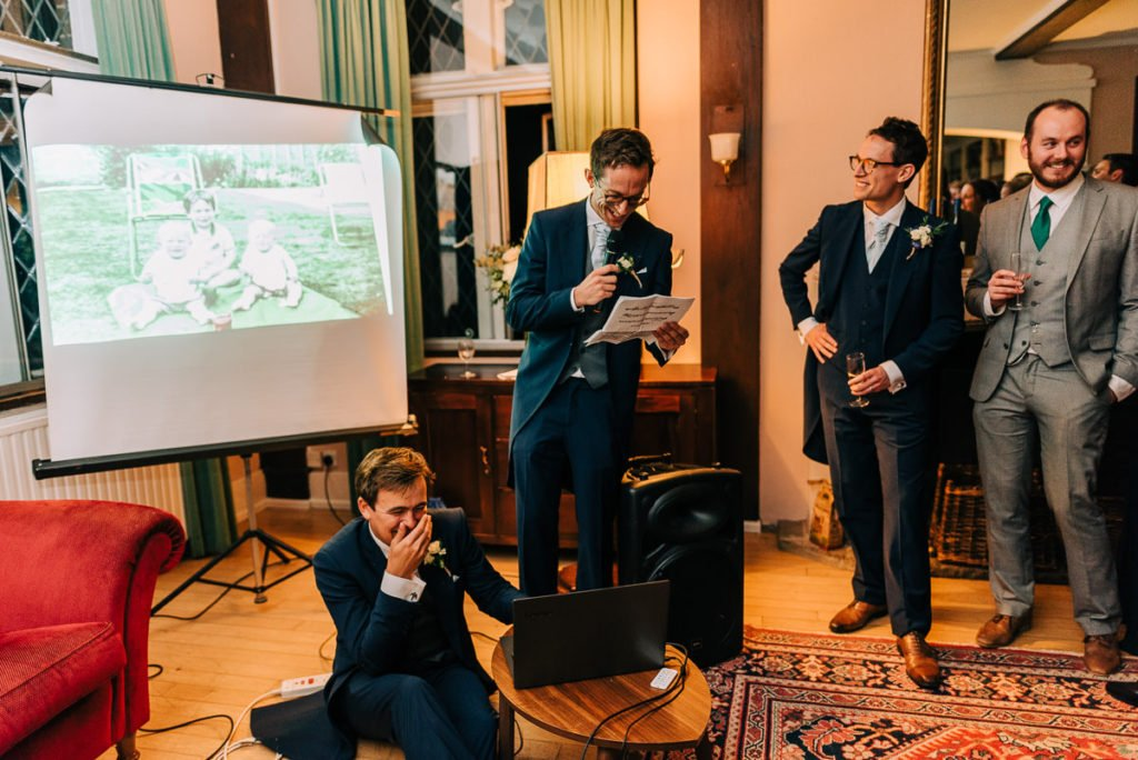 Groomsmen funny wedding speech with slideshow of photos