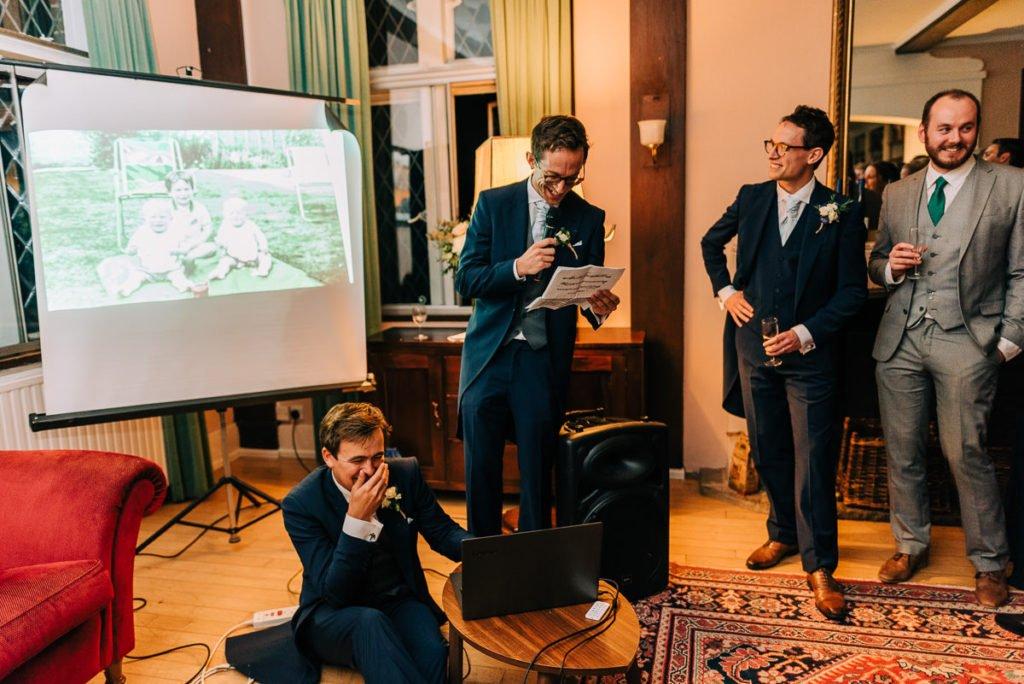 Groomsmen funny wedding speech with slideshow of photos