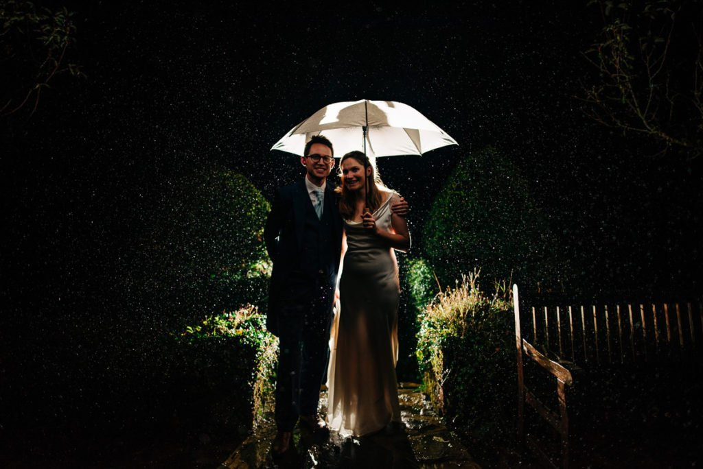 Rainy wedding day creative photographs