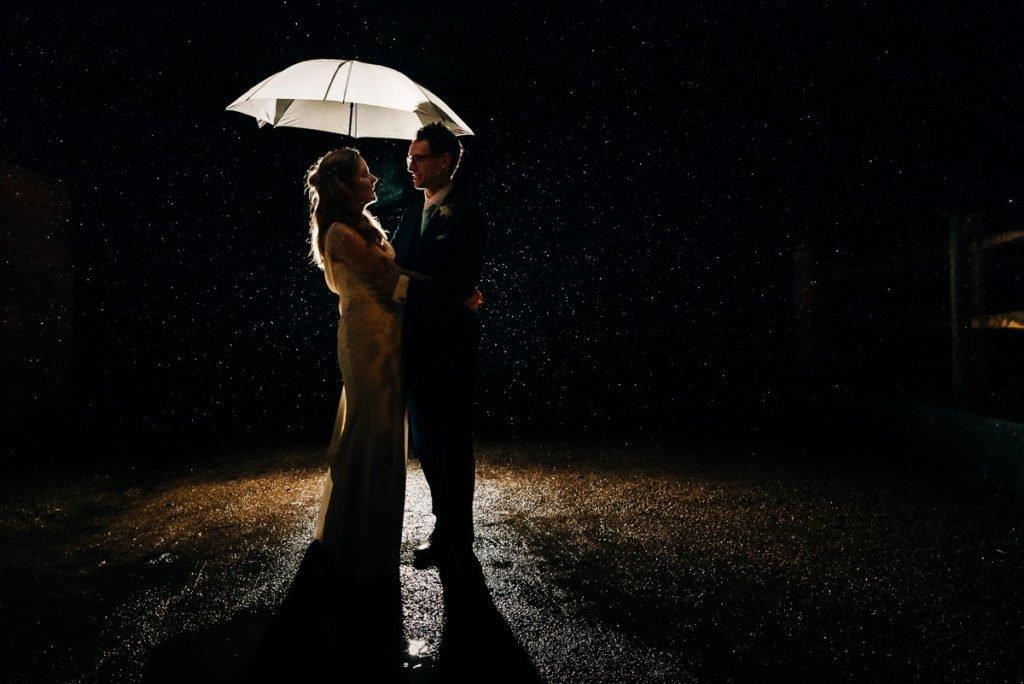 Rainy wedding day couples photos