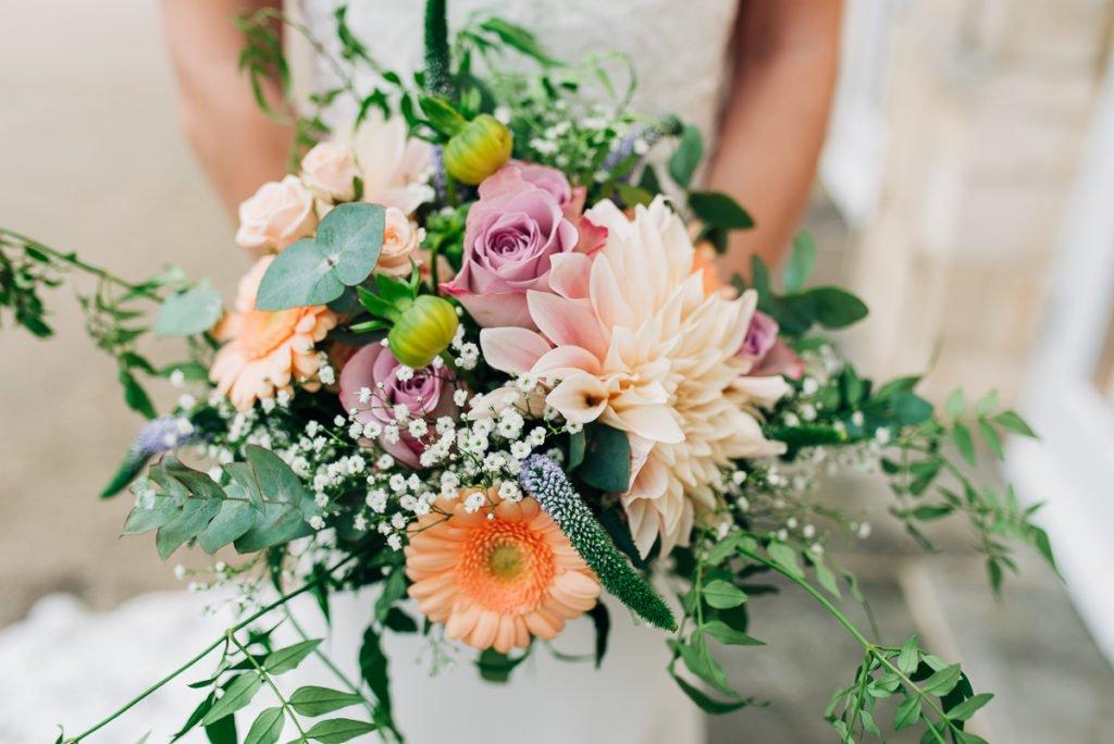 Soft coloured wedding bouquet