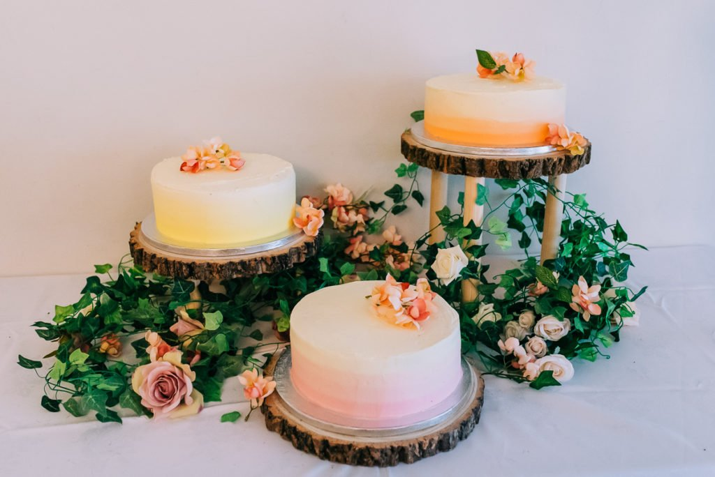 Peach and pink wedding cake made by the maid of honour
