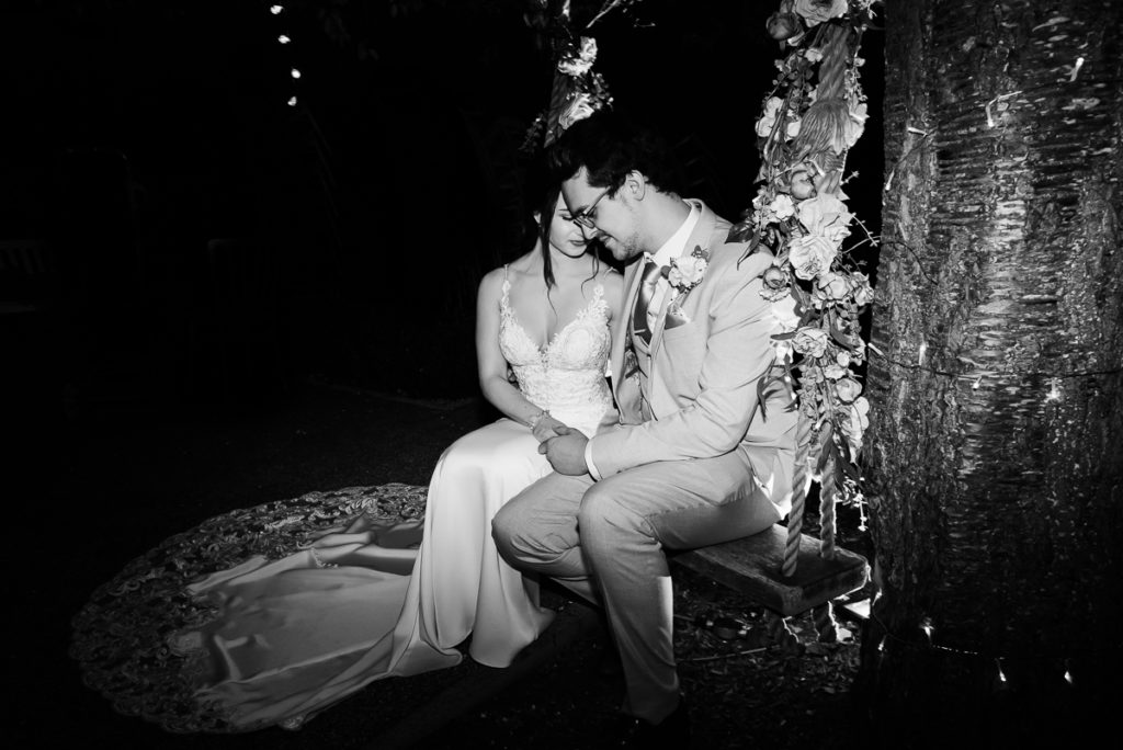 Bride and groom steal some time together on wedding day