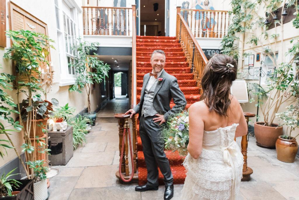 First look of bride in vintage wedding dress