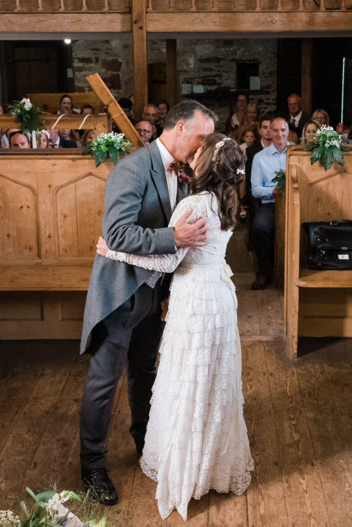 First kiss Totnes Guildhall wedding