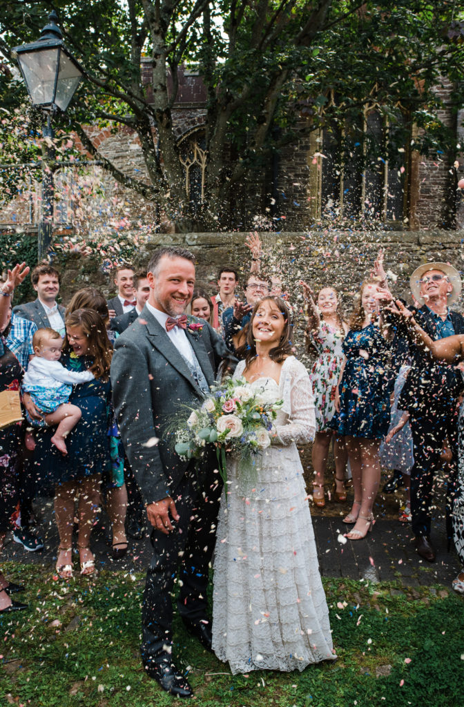Confetti photograph outside Totnes Guildhall