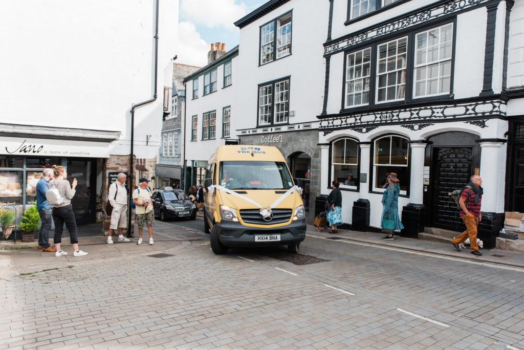 Bob the bus for wedding transport in Totnes