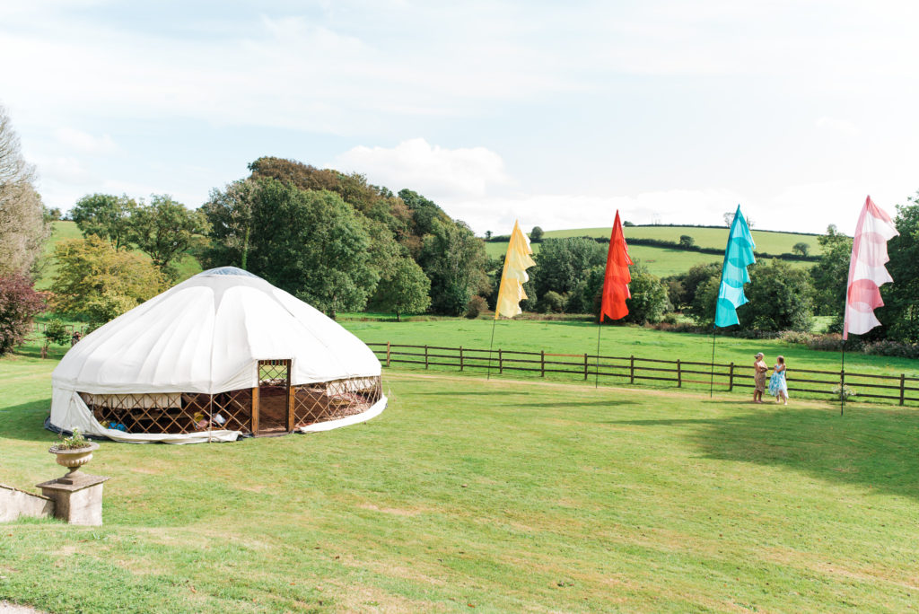 Wedding yurt and festival flags
