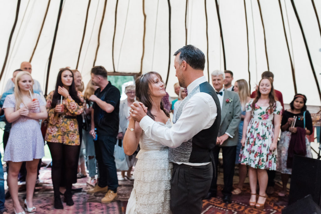 Bride and groom first dance in a Moroccan themed yurt