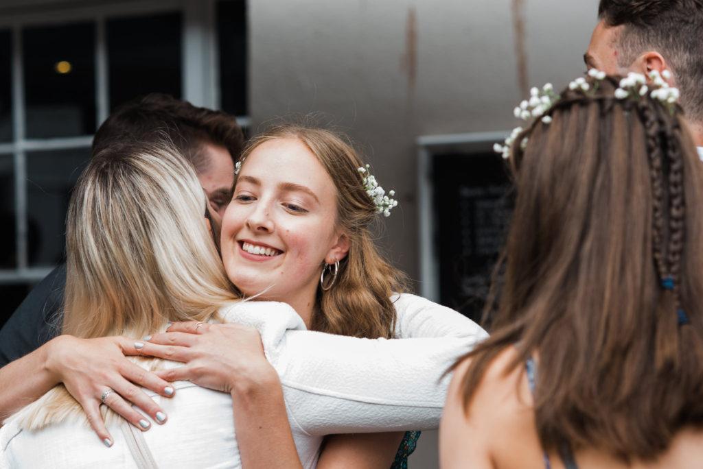 Happy guests at Totnes wedding