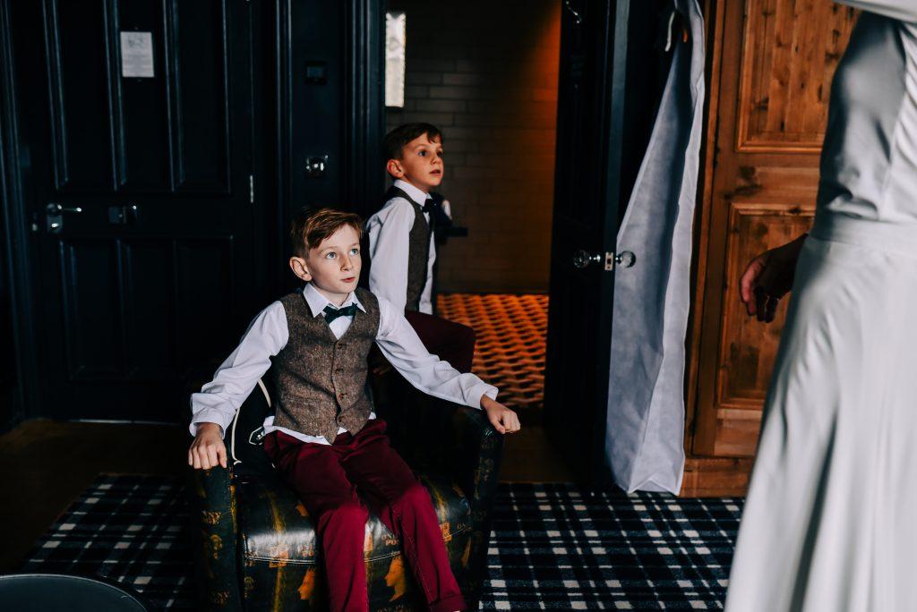 Brides children see her in her wedding dress