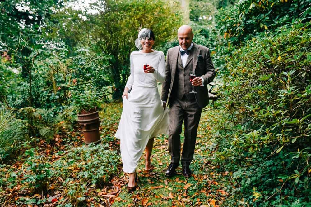 Newlyweds walk through Glazebrook grounds