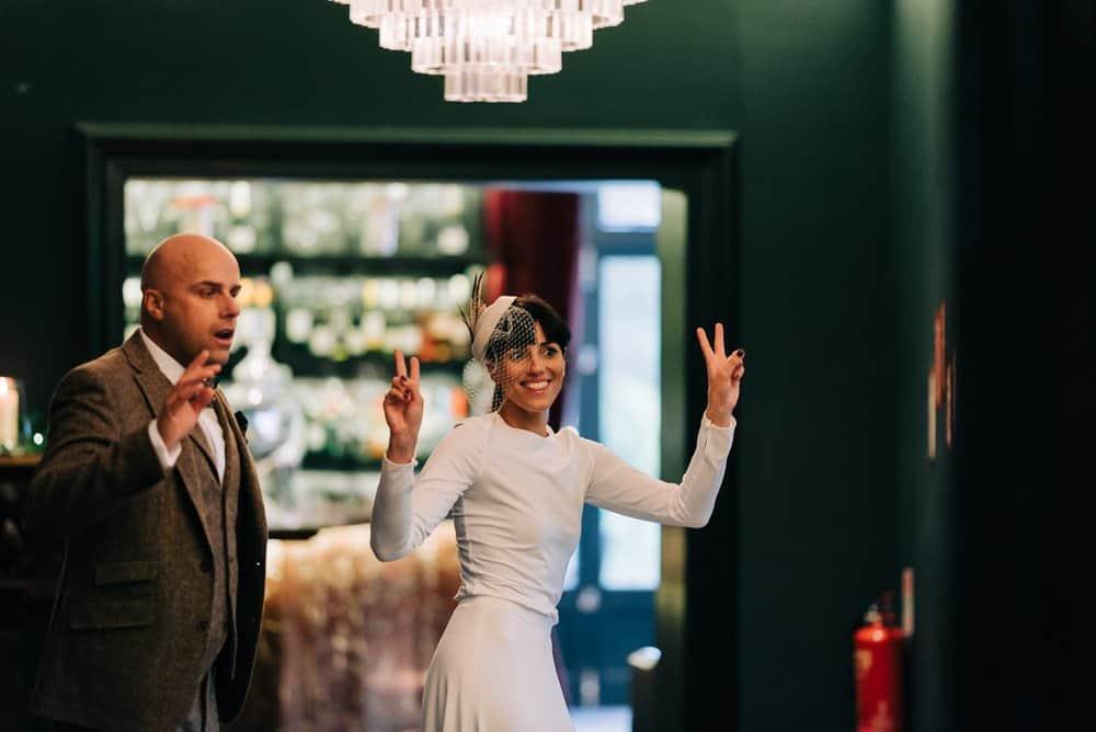 Newlyweds entrance into reception