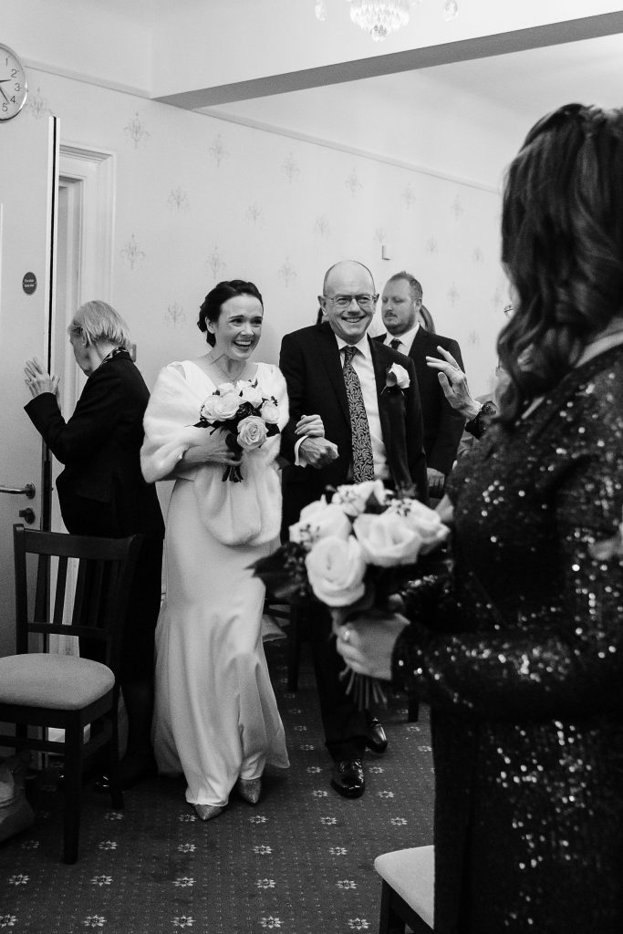 Bride enters Guildford registry office
