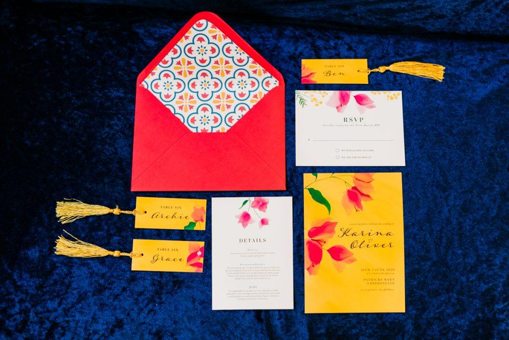 Colourful wedding stationary
