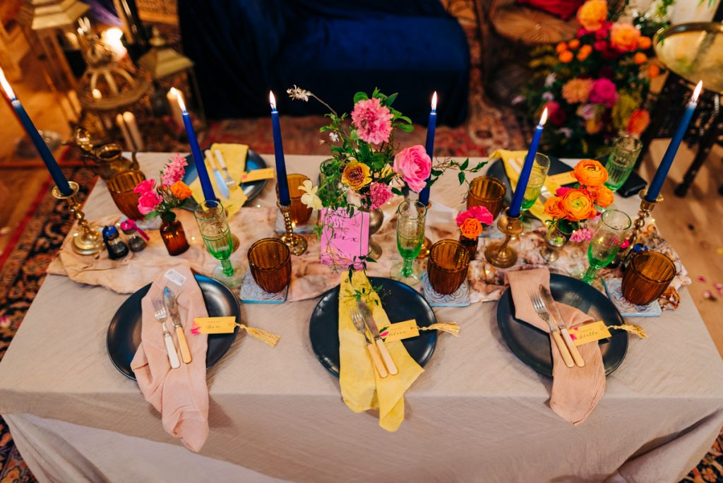 Colourful quirky wedding decorations