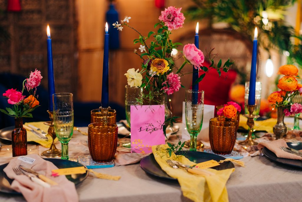 colourful wedding table decorations