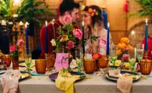 romanic vibrant wedding table