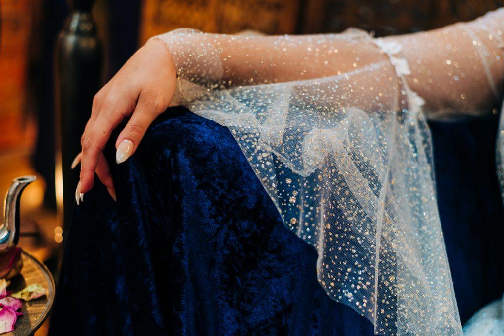 Floaty sleeve wedding dress glitter