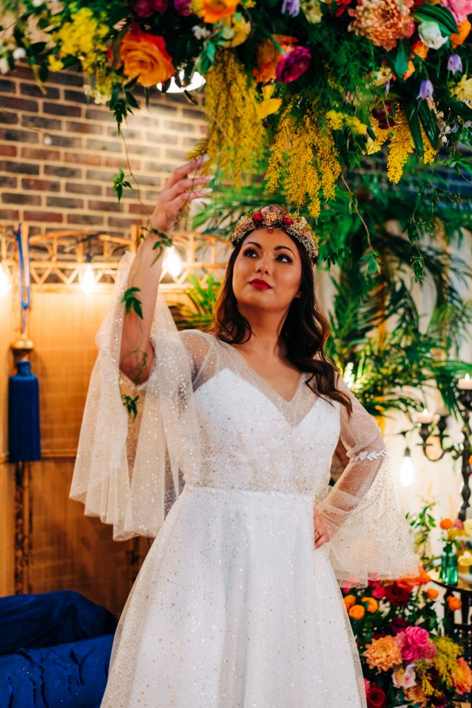 Hanging wedding flowers decoration sparkly wedding dress