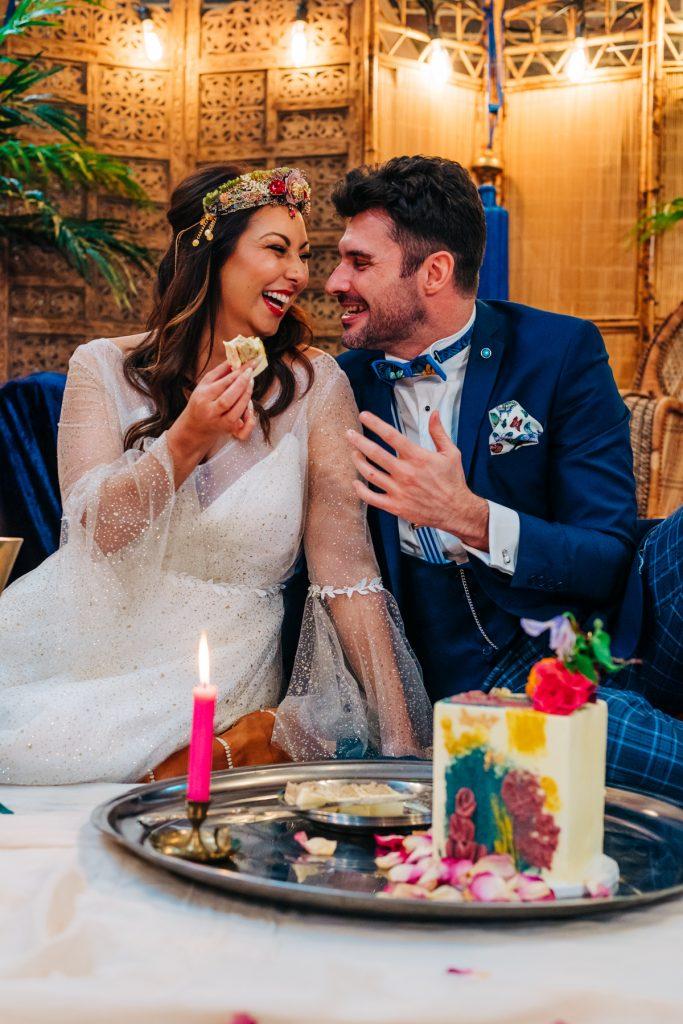 colourful eco friendly wedding cake