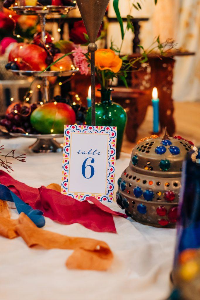 colourful table number idea