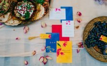 colourful wedding stationary set