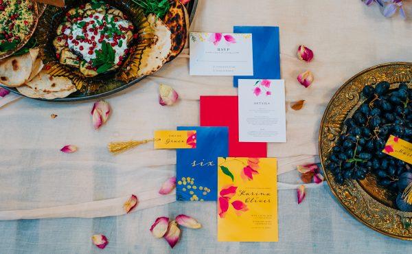 colourful wedding stationary set