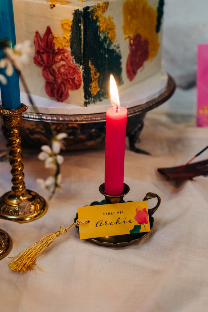 colourful candles and place names