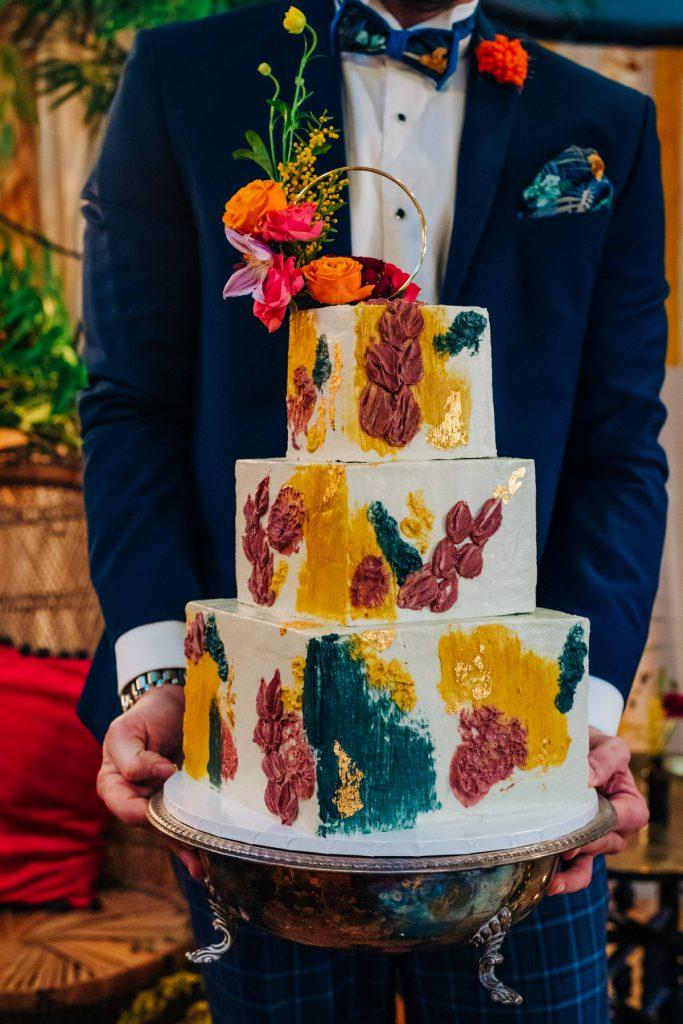 eco friendly colourful wedding cake