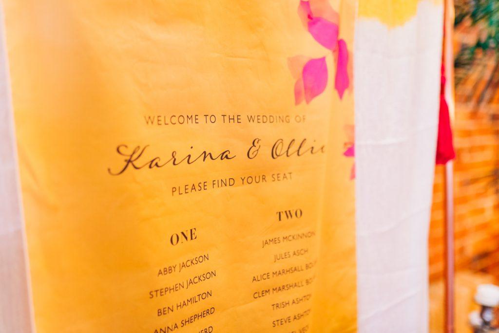 Hanging fabric wedding table plan inspiration