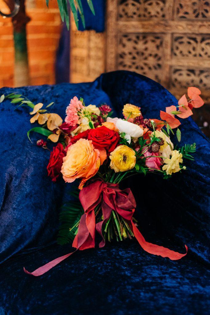 rustic colourful bridal bouquet