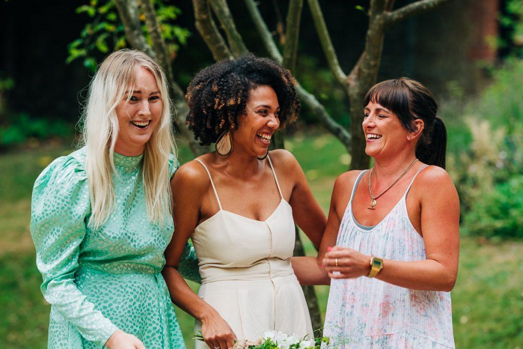 fun group photographs at wedding